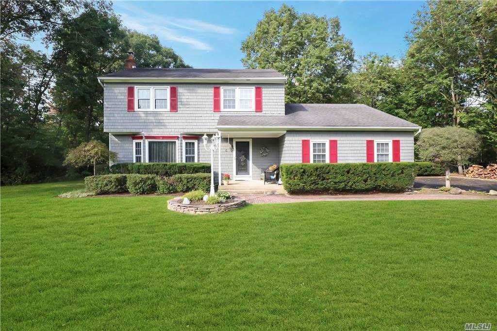 Welcome Home to This Beautiful Colonial Tucked Away on an Acre of Property! Featuring 3 Bedrooms Inc. Master Bdrm w/En Suite, and an additional 1- 1/2 Baths, Formal Dining Room, Eat In Kitchen w/Corian Countertops, French Doors Leading to  Living Room w /Cozy Fireplace, Den w/Vaulted Ceiling, All Wood Floors, Full Attic, 2 Car Att. Garage w/Storage Loft, In-Ground Free Form Gunite Pool, New Burner, New Hot Water Heater, 6-Zone Sprinkler System! PRIVATE Dead End Street!!