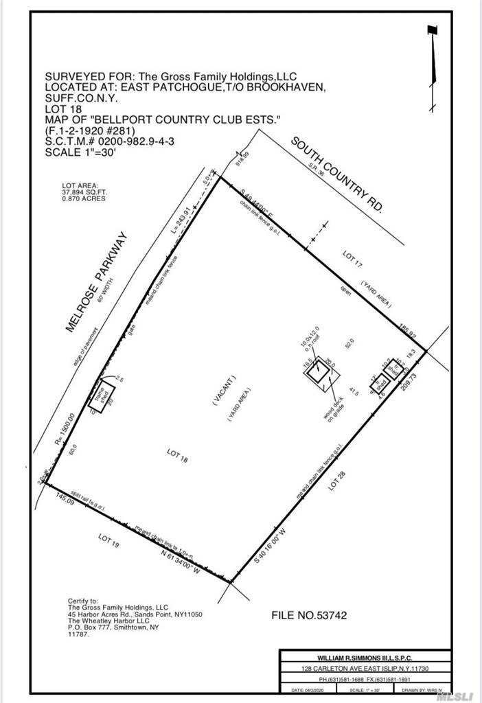 Shy 1 Acre Vacant Parcel Available for Sale Located South of South Country Road in East Patchogue.  Wonderful Opportunity to Build Your Own Home or Have the Owner Build it for you! A Custom 3,800+/- Square Foot Home can be Built with a Full Basement and 2-Car Garage.  See Attached Photos for Ideas.