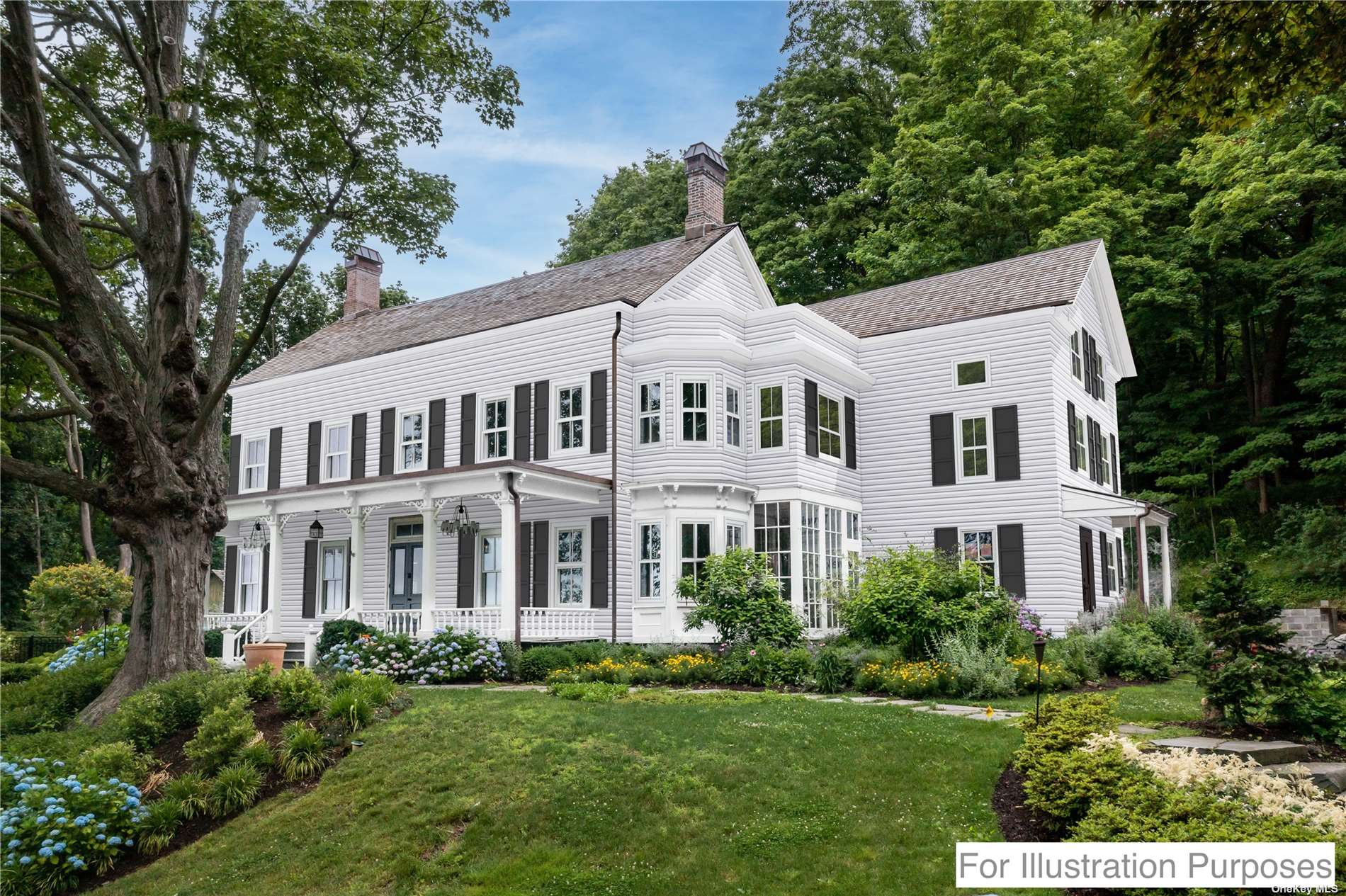 """Magnificent Custom 5 bedroom, 6.5 bath Colonial with western water views and sunsets. This completely rebuilt Reno-Mod home combines the history of Cold Spring Harbor with the most modern and high-quality renovation. Experience luxury in this 5000sq ft home featuring kitchen w/water views, expansive center island, coffered ceiling, mudroom and glass doors lead to a wrap-around porch. The elegant foyer features a two-story staircase with glass walls leading to 5 en-suite bedrooms. Master bedrm with stunning water view includes a gas fireplace and balcony. A true masterpiece boasting a rare third floor w/5th bedrm, full bath, bonus room, study w/fireplace and balcony. Relax in the Elegant Dining Rm w/double sided gas fireplace. Another special feature of """"Harbor View"""" is the walkout basement with 10' ceilings and cedar temperature-controlled wine cellar. Set on 2 landscaped acres, this home offers plenty of privacy, Gunite pool, brick patio, 2 firepits. Beach/Mooring(dues). CSH SD#2"""
