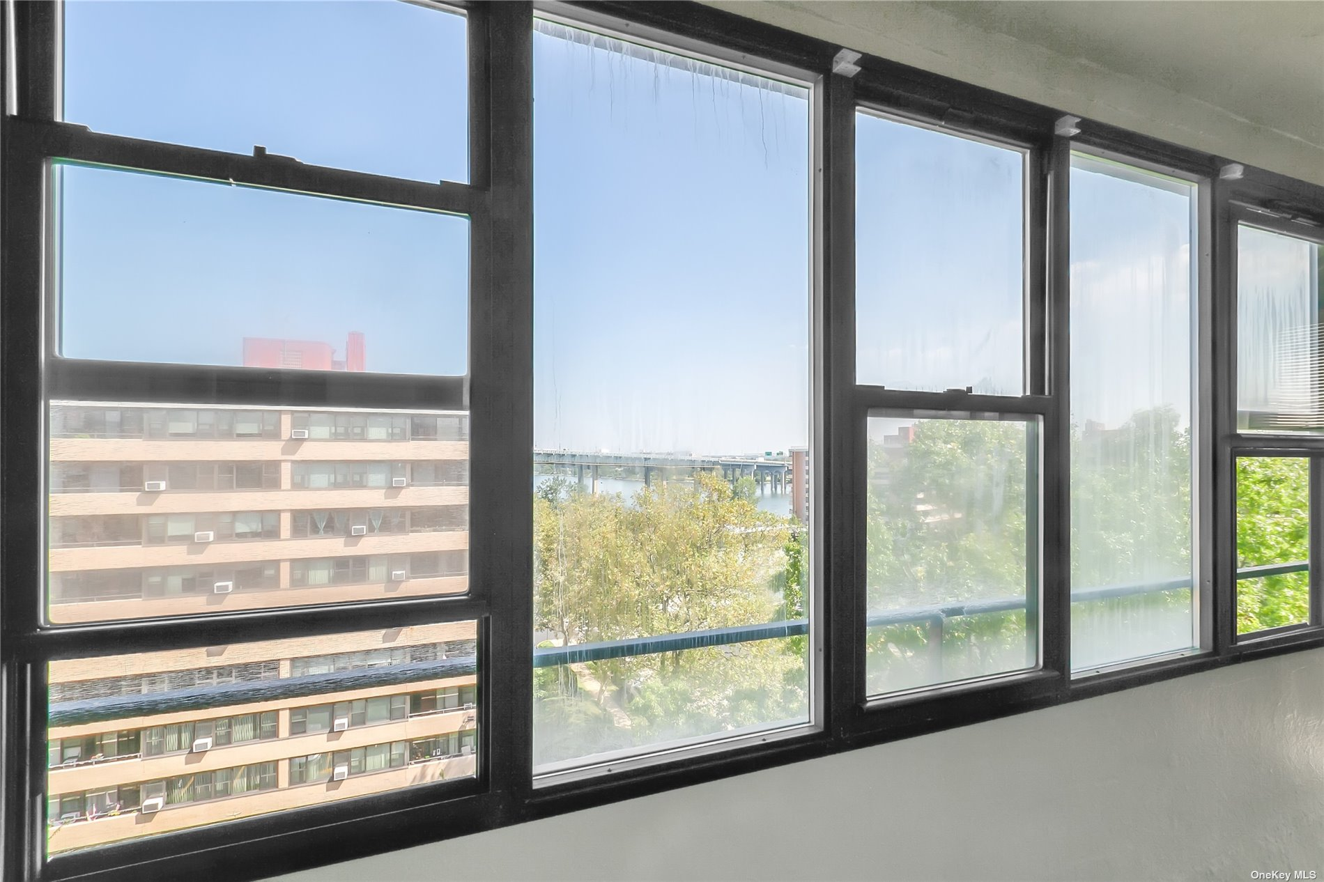 Water and bridge views from this sundrenched apt.  New euro kitchen/wood floors/updated bath/prime parking space available for transfer M58...Lehavre offers 2 out door pools/gym/ 3hartru tennis courts/clubhouse with cafe