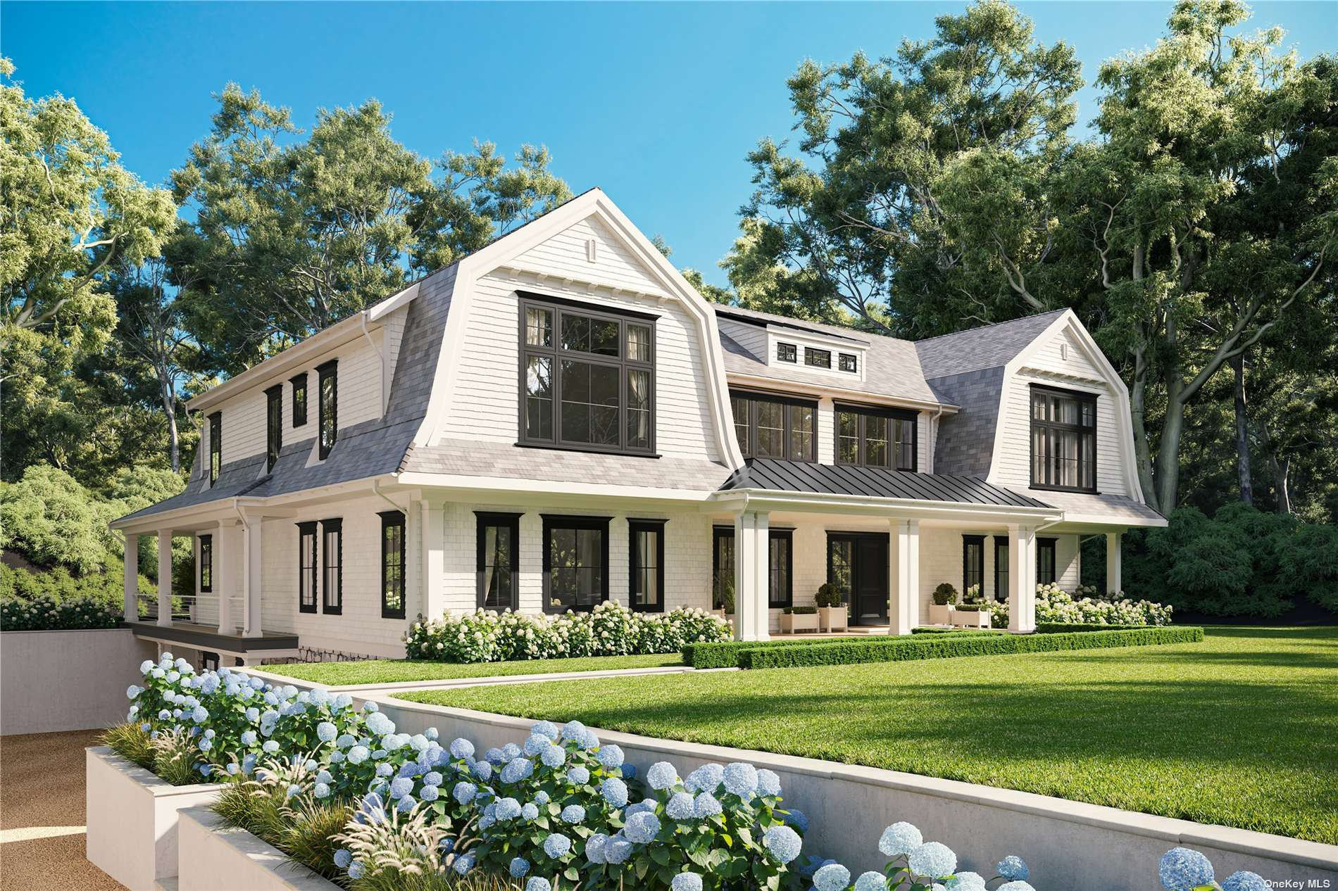 Brand new construction sited perfectly on 1.84 +/- acres in Water Mill, boasts 11,000SF +/-,  double height ceiling leading to a huge great room with fireplace overlooking the yard. Chefs' kitchen is equipped with Wolf range, dual Sub-Zero refrigerators, dual dishwashers, custom cabinetry, marble counter tops, pantry, breakfast area with sliding doors to the outdoor patio, and den. First floor includes a formal dining room, separate living room/study with fireplace, en-suite guest room and secondary suite with additional full bathroom, powder room, laundry and elevator. The second floor features three graciously sized en-suite guest bedrooms, laundry area, a primary bedroom suite with  private deck, separate office, deep walk-in closets and primary en-suite bathroom with double sink vanities, free standing soaking tub, shower. spacious shower. The fully finished lower level iwith two guest en-suite bedrooms, media room, and gym.  Heated Gunite Pool, pool house Tennis, 5 car Gargage