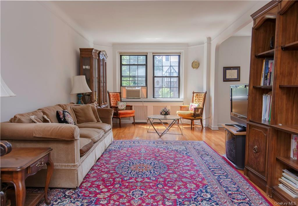 Rare opportunity at Scarsdale Manor. This oversized two bedroom apartment boasts hardwood floors throughout, 9 California closets, a formal dining room, and a master bathroom en suite. This L line apartment has exposures to the east and west and allows sunlight to pour in. Only an 8 minute walk to the Scarsdale Metro North (33 Minute ride to Grand Central). ALL utilities included in the monthly maintenance. Garth Road parking is FREE with a permit.