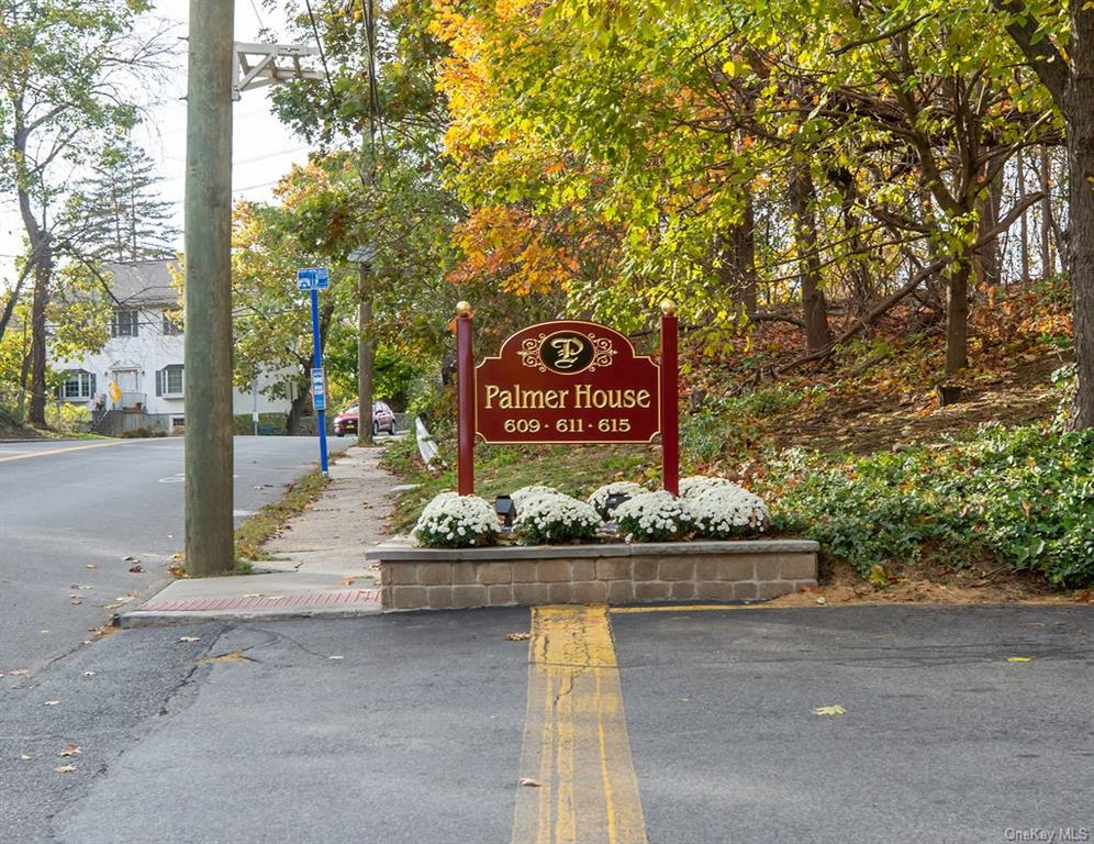 Welcome to Palmer House- 24 hour Gated Community in private park-like setting.   Move right in to this bright and spacious one bedroom 1000 square feet apt. with lovely treetop views. Features large living room with nice size dining area, renovated kitchen with granite countertops and stainless steel appliances, 2 updated air conditioning units, Huge bedroom, hardwood floors and abundant closets including multiple California.  Laundry, storage, and biking room on premises.  Low monthly maintenance. On-site parking ($40.00 outdoor) will most likely be available at closing, Garage-wait list ($60.00/month).  Ample guest parking.  On-site Super. Just minutes to Bronxville village, Metro North RR, shops, Dining, daily necessities.  Easy access to NYC Express bus, and close to all major highways.