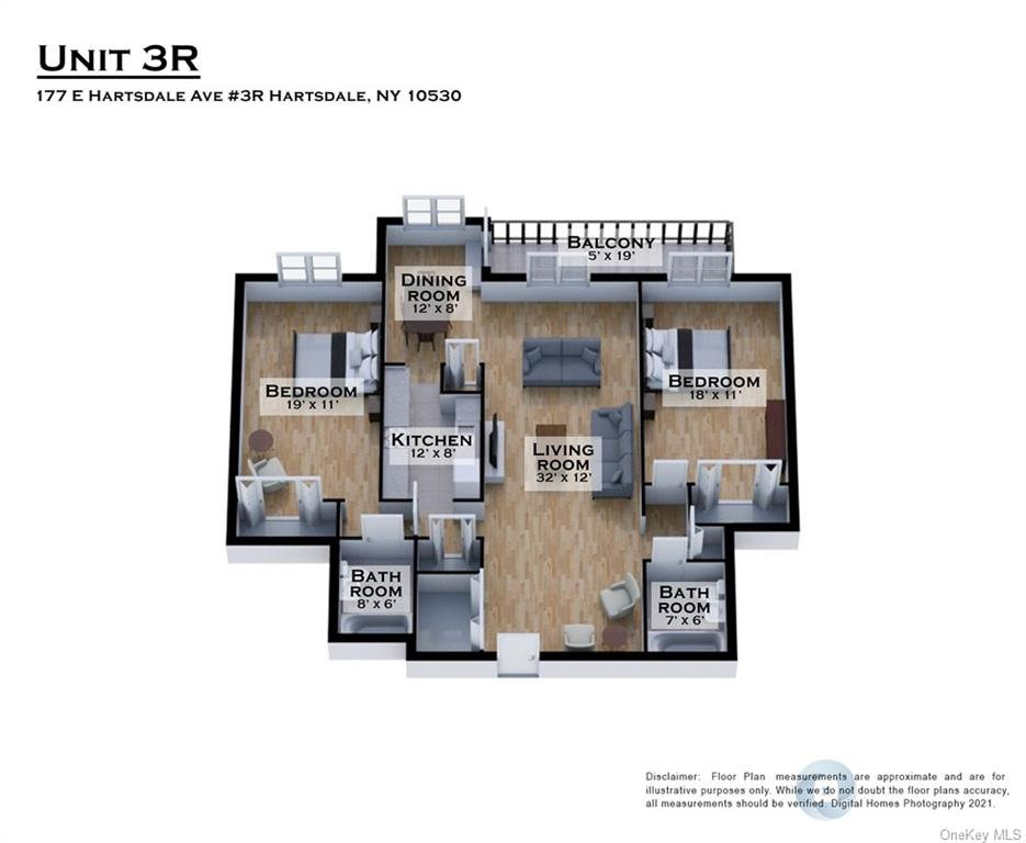 Spacious 2 Bedroom / 2 Full Bath home with terrace