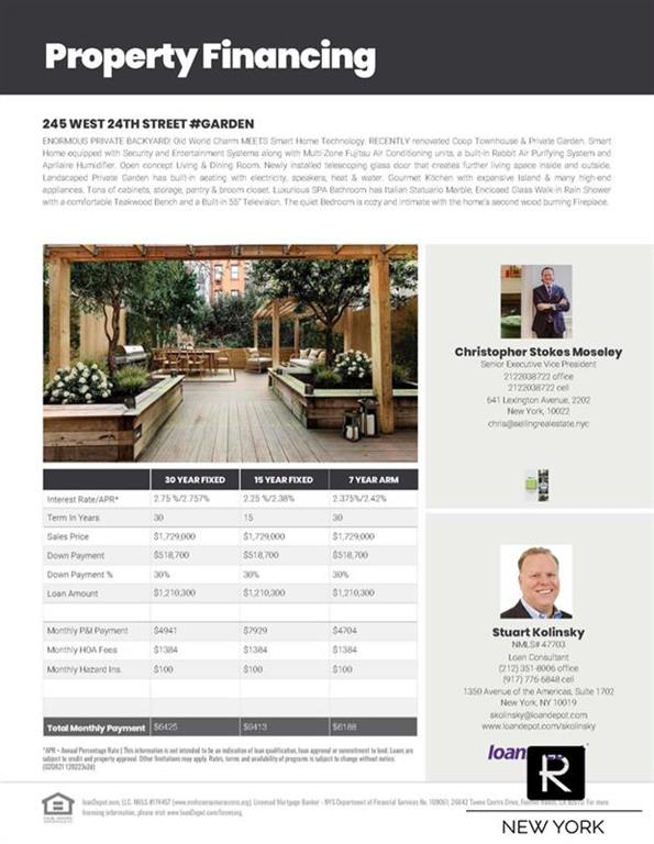 Property for sale at 245 W 24th Street Unit: GARDEN, New York,  New York 10011