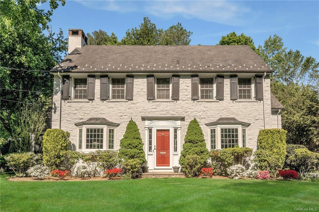 Welcome to 11 Brookline Rd, a stunning stone-front Center Hall Colonial located in the sought-after neighborhood of Sherbrooke Park. This stunning move-in ready home features 5 beds/3 baths with an eat-in kitchen, formal dining room, living room with wood-burning fireplace, and private home office. The second level has a spacious Master bedroom with an en-suite bathroom, three additional bedrooms, and a shared hall bath. There is also a separate bedroom with its own en-suite bathroom accessible from the second-floor living area or a private back staircase. The property features beautiful mature landscaping, a new outdoor patio area for outdoor dining and entertaining, and a private flat yard. The home includes many updates: new Anderson windows (2019), new storm doors (2019), new outdoor patio (2018) and comes with a security system and two-car heated garage. Conveniently located close to the train station, free bus to Heathcote Elementary and Scarsdale Middle School.