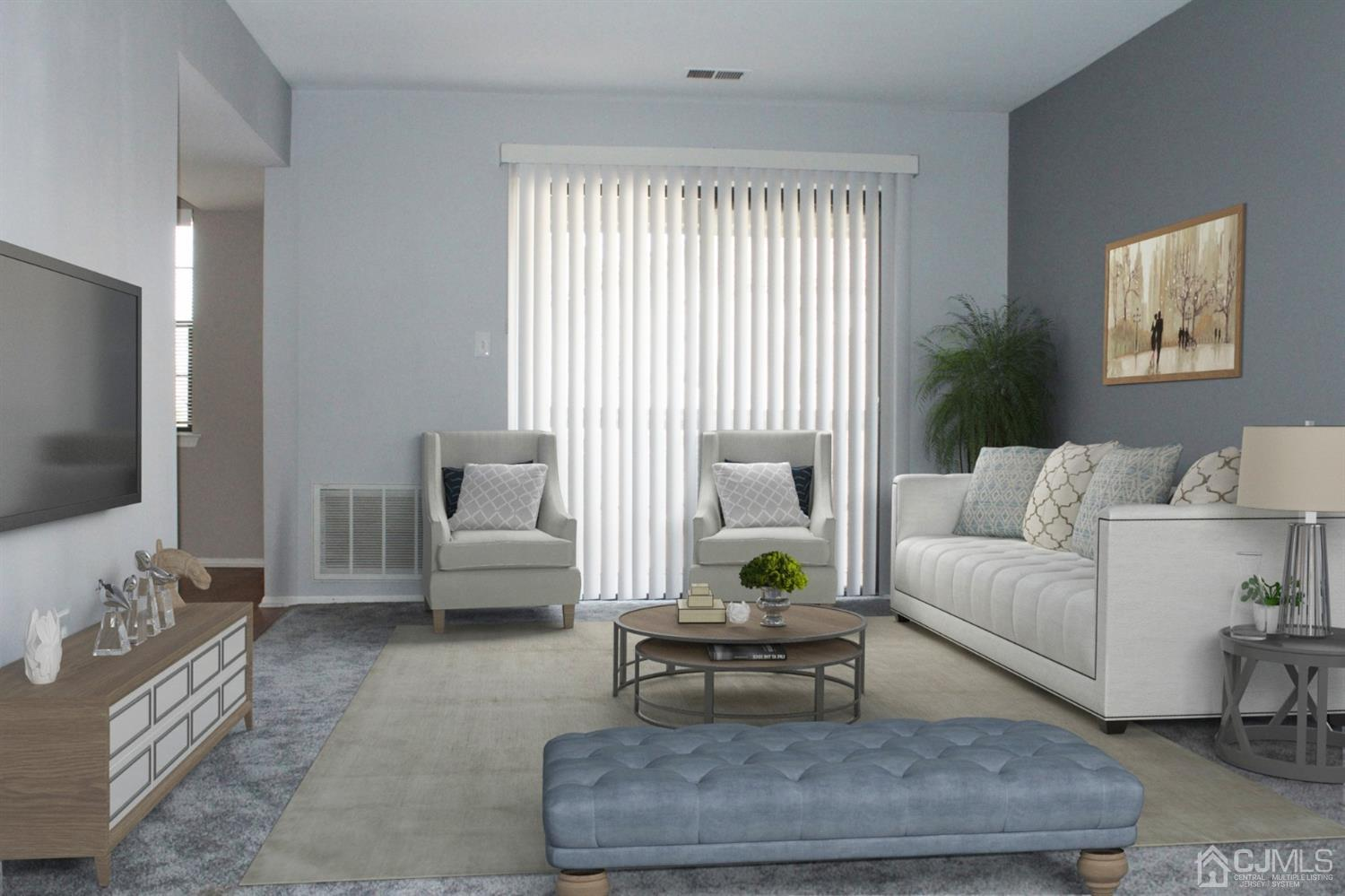 VIRTUAL STAGING OF LIVING ROOM WITH FURNITURE