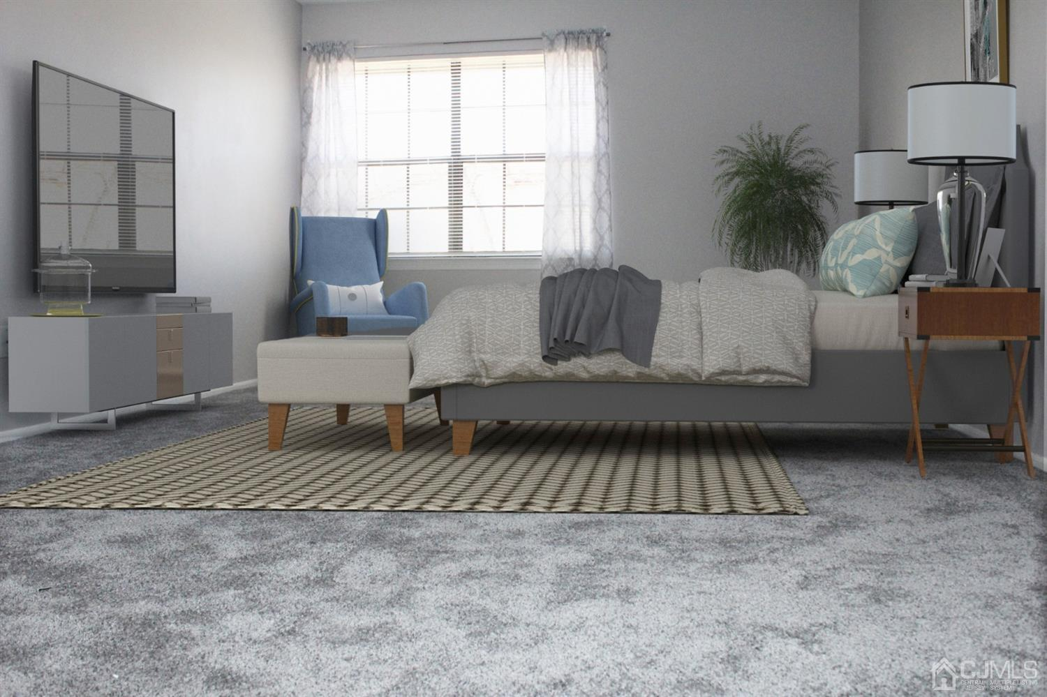 VIRTUAL STAGED WITH FURNITURE IN MASTER BEDROOM.