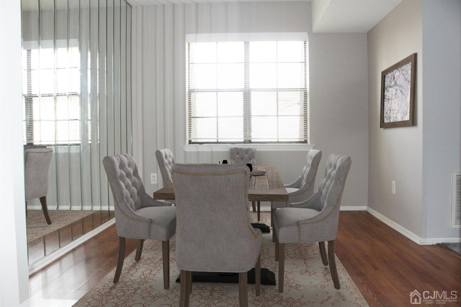 VIRTUAL STAGED WITH DINING FURNITURE.
