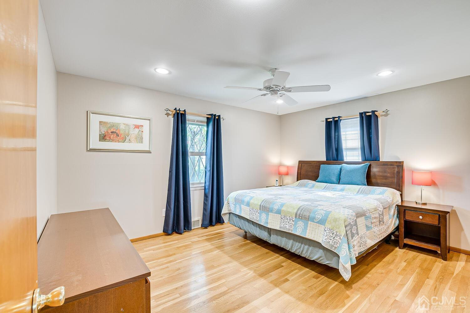 Large Master Bedroom fits a King Size Bed, Recessed Lighting and Fan.