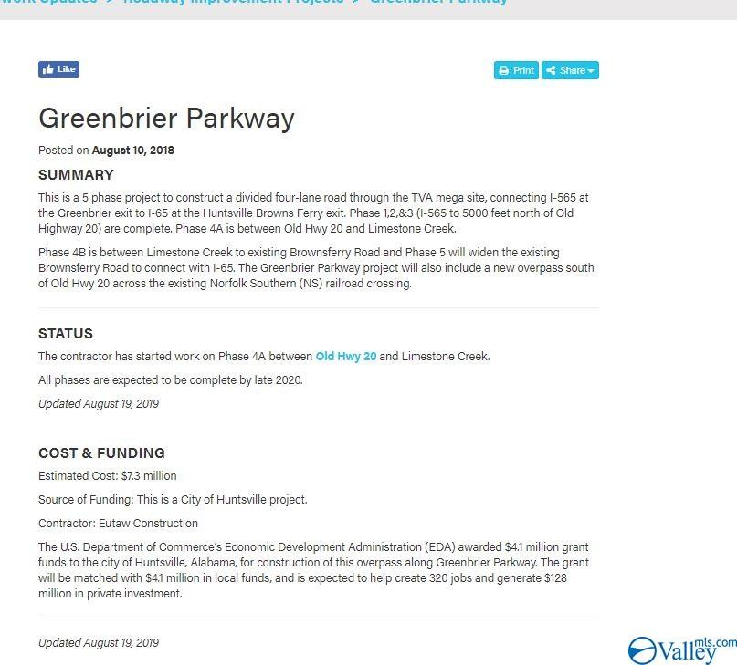 Information on new Greenbrier Cooridor which ties