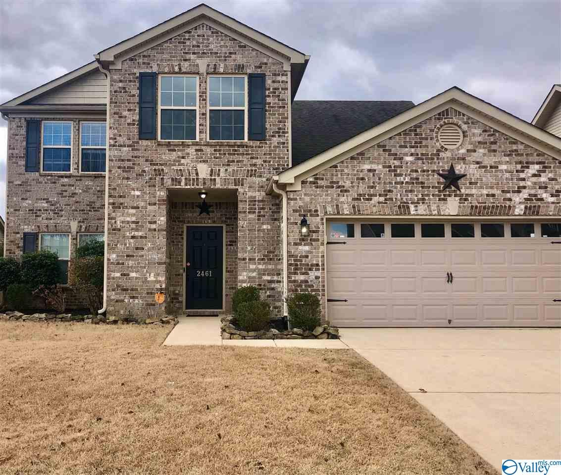Enjoy the full brick 4 bedroom 2 1/2 baths 2 story home in south Huntsville. Kitchen is central and open to the great room and dining room with beautiful custom cabinets, granite and stainless steel appliances & tile backsplash. Master Bedroom is large with ceiling fan, trey ceiling, spa like bath with a huge walk in closet, double vanities, linen closet. There is a spacious foyer leading to a large office and separate dining room. There are 3 spacious bedrooms upstairs and a loft area and full bath. New Upstairs HVAC installed last year. New carpet just installed. Home is 5 minutes to Redstone Gate 3