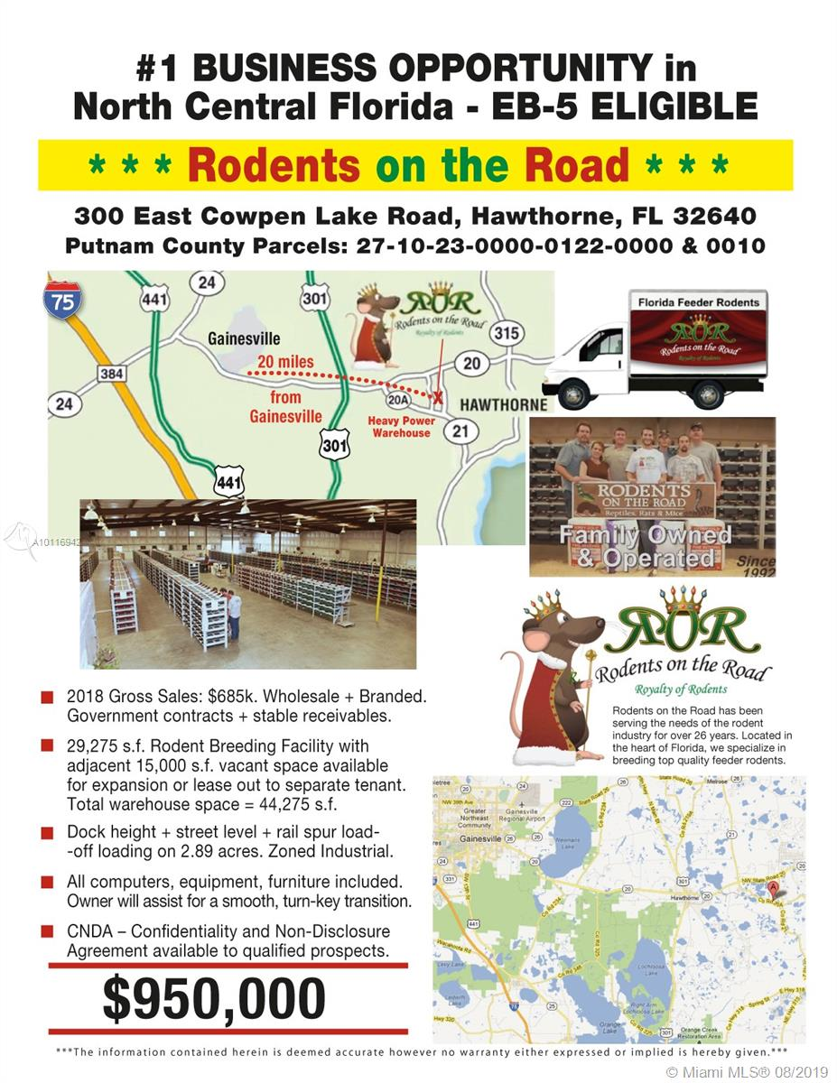 300 COWPEN LAKE RD=GAINSVILLE, Palatka, Florida 32640, ,Commercial Sale,For Sale,300 COWPEN LAKE RD=GAINSVILLE,A10116942
