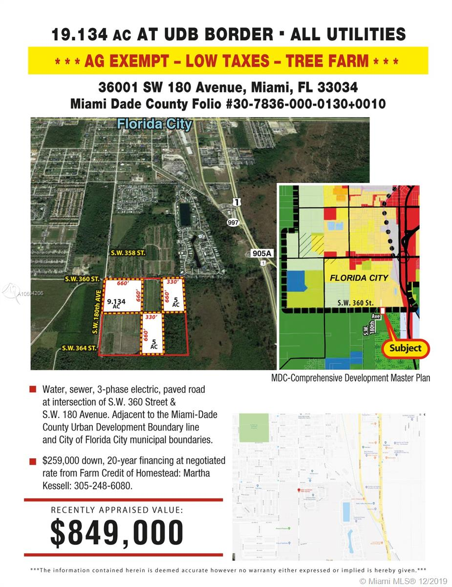36001 SW 180, Florida City, Florida 33034, ,Commercial Land,For Sale,36001 SW 180,A10504206