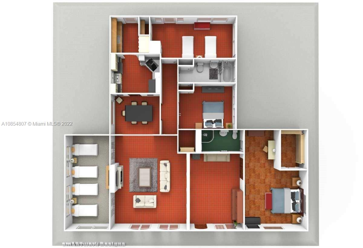 Main house floor plan representing actual furniture