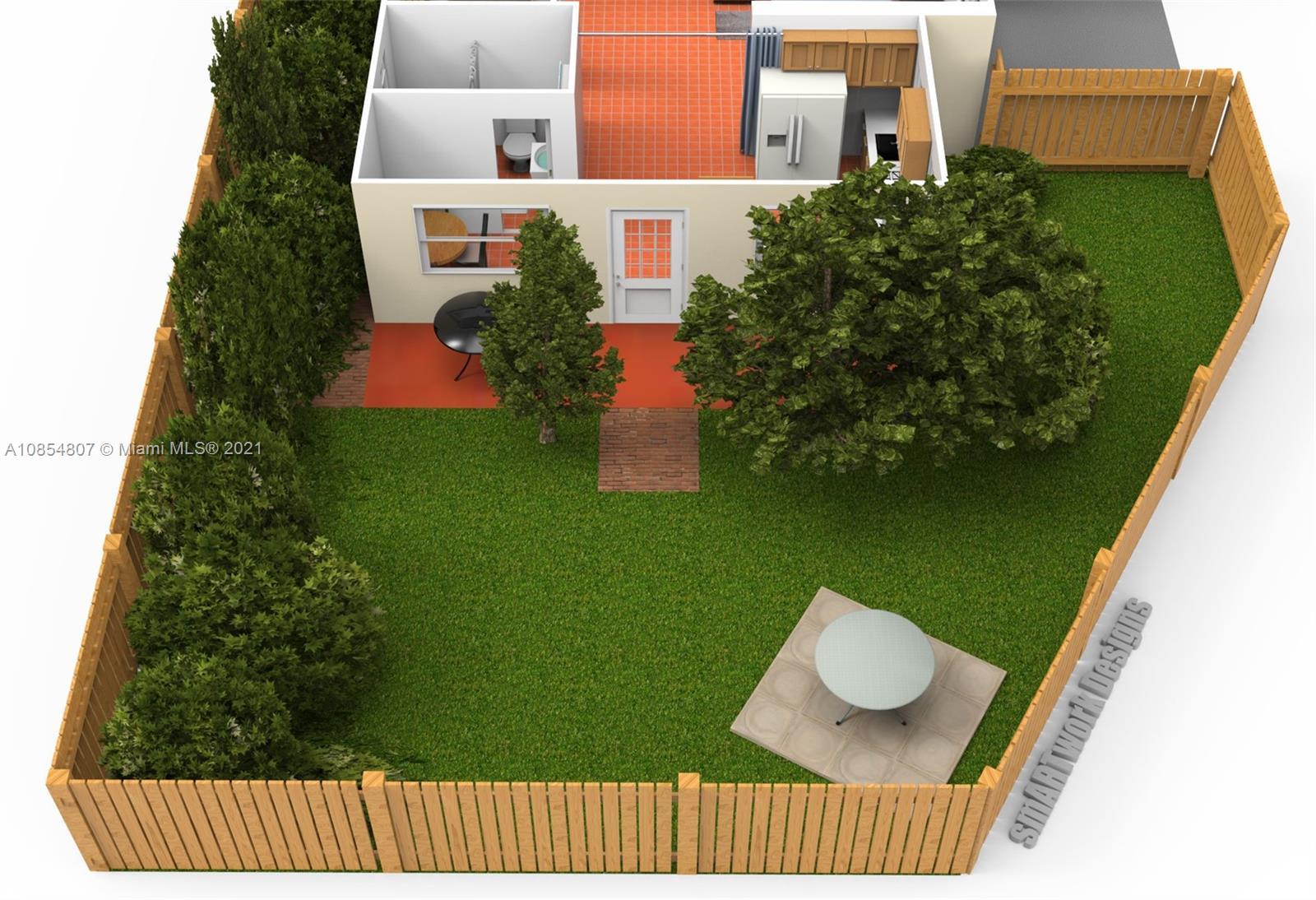 Efficiency floor plan with private backyard.