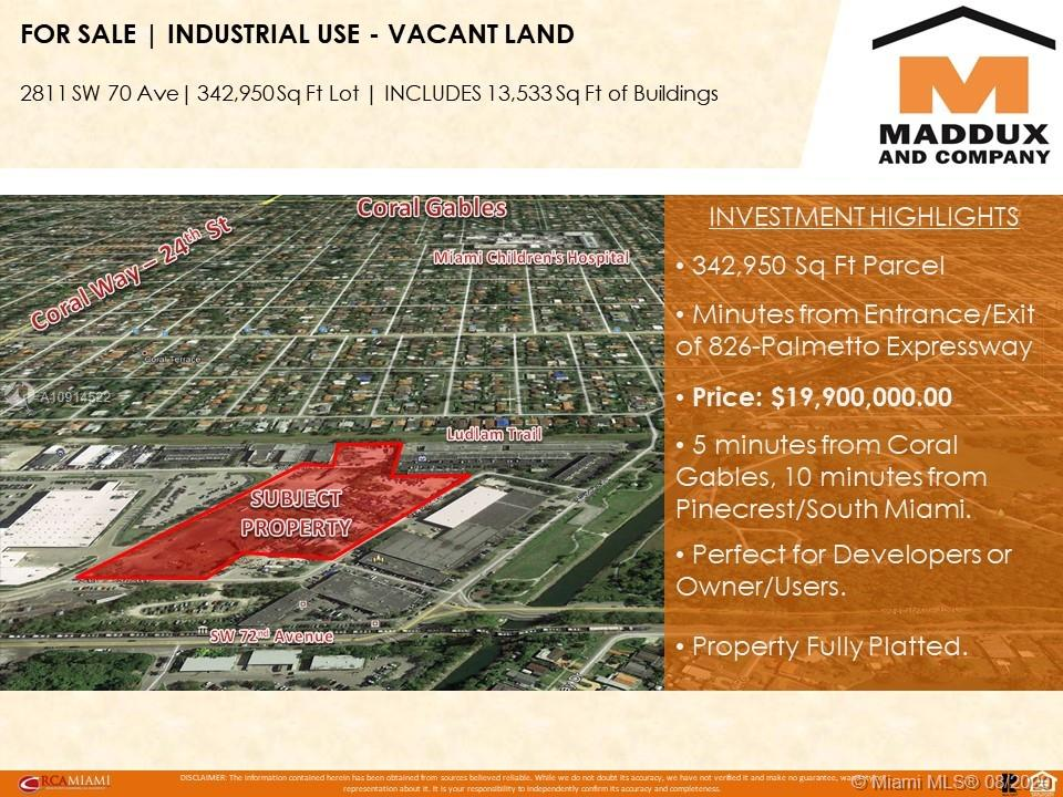2811 SW 70th Ave, Miami, Florida 33155, ,Commercial Land,For Sale,2811 SW 70th Ave,A10914522
