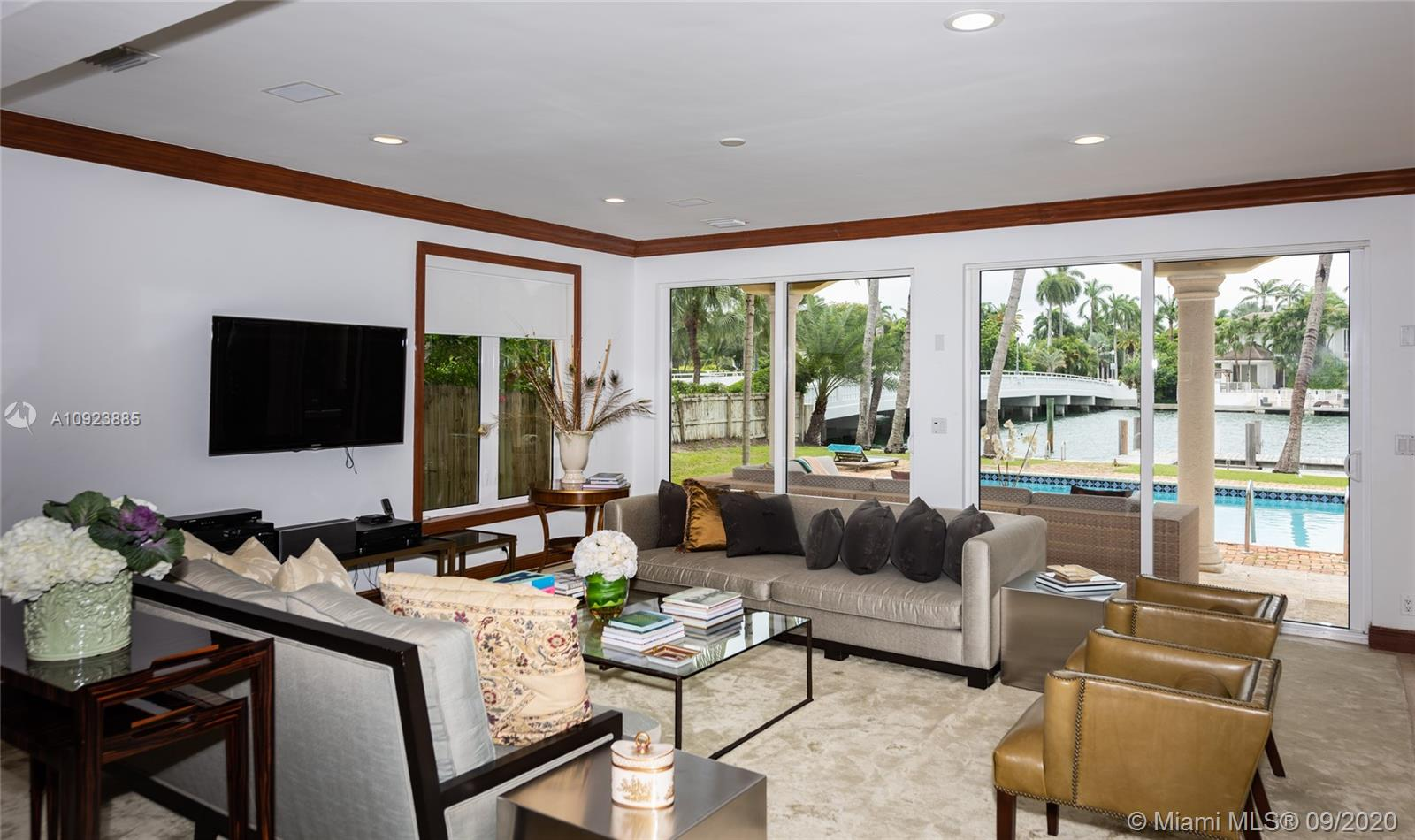 Spacious formal waterfront living room