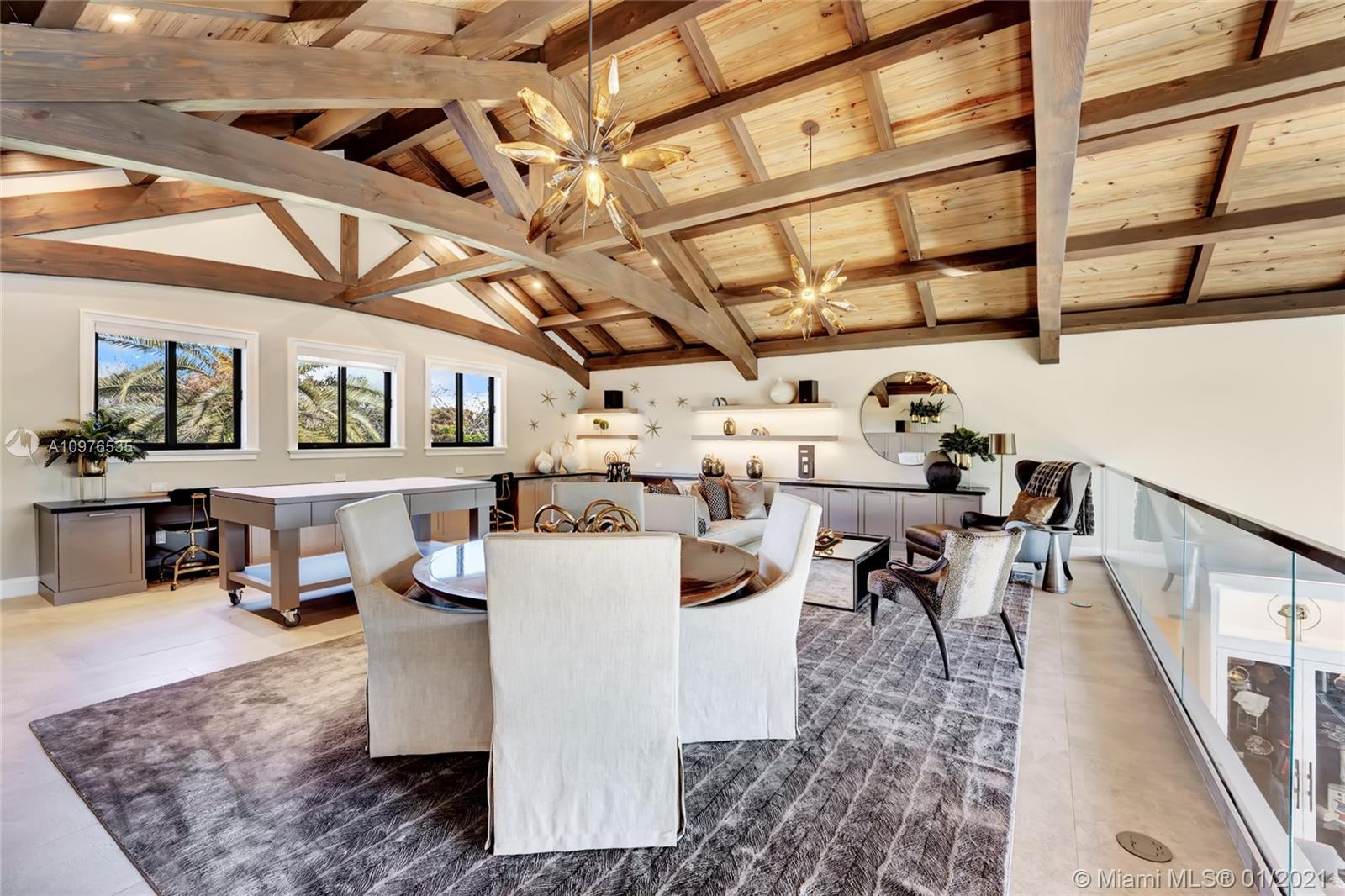 Loft area. Tongue and groove paneling and coffered ceilings add exquisite features to this mansion.