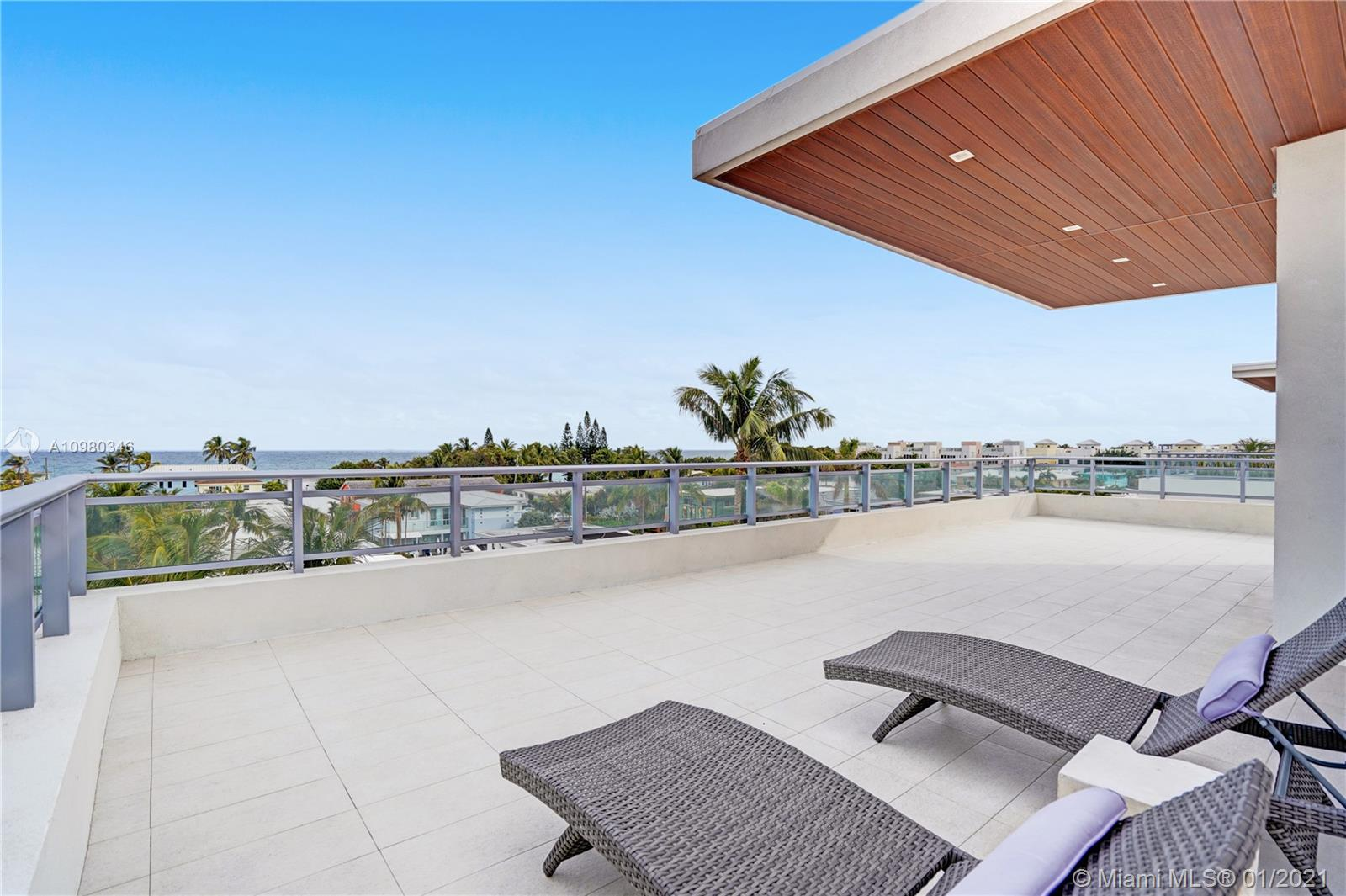 Rooftop deck with a view of the Ocean.