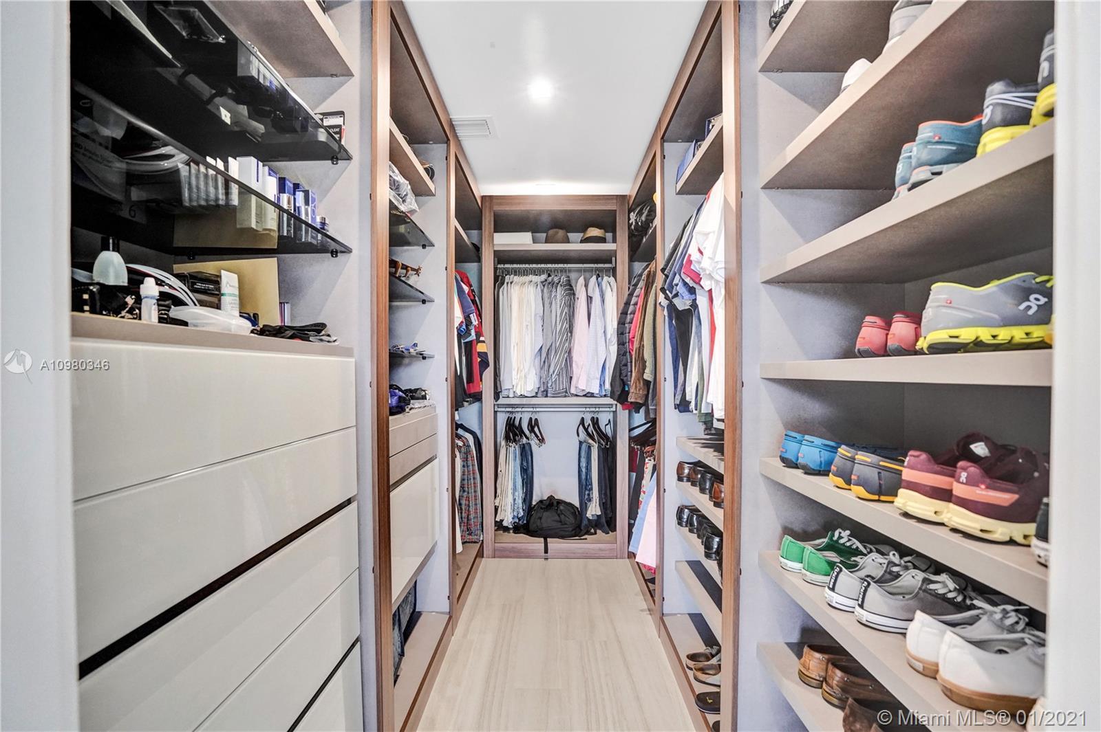Top of the line custom Pianca Italian closets.