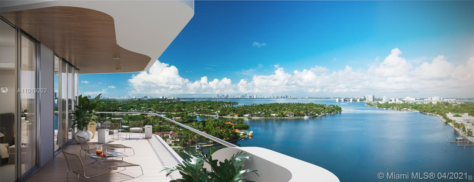 Panoramic unobstructed views of Biscayne Bay from residence A, B, C & D