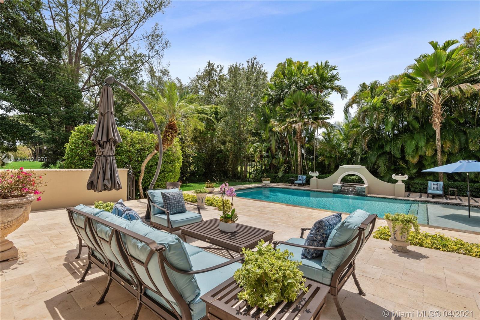 Resort style outdoor patio/pool area.