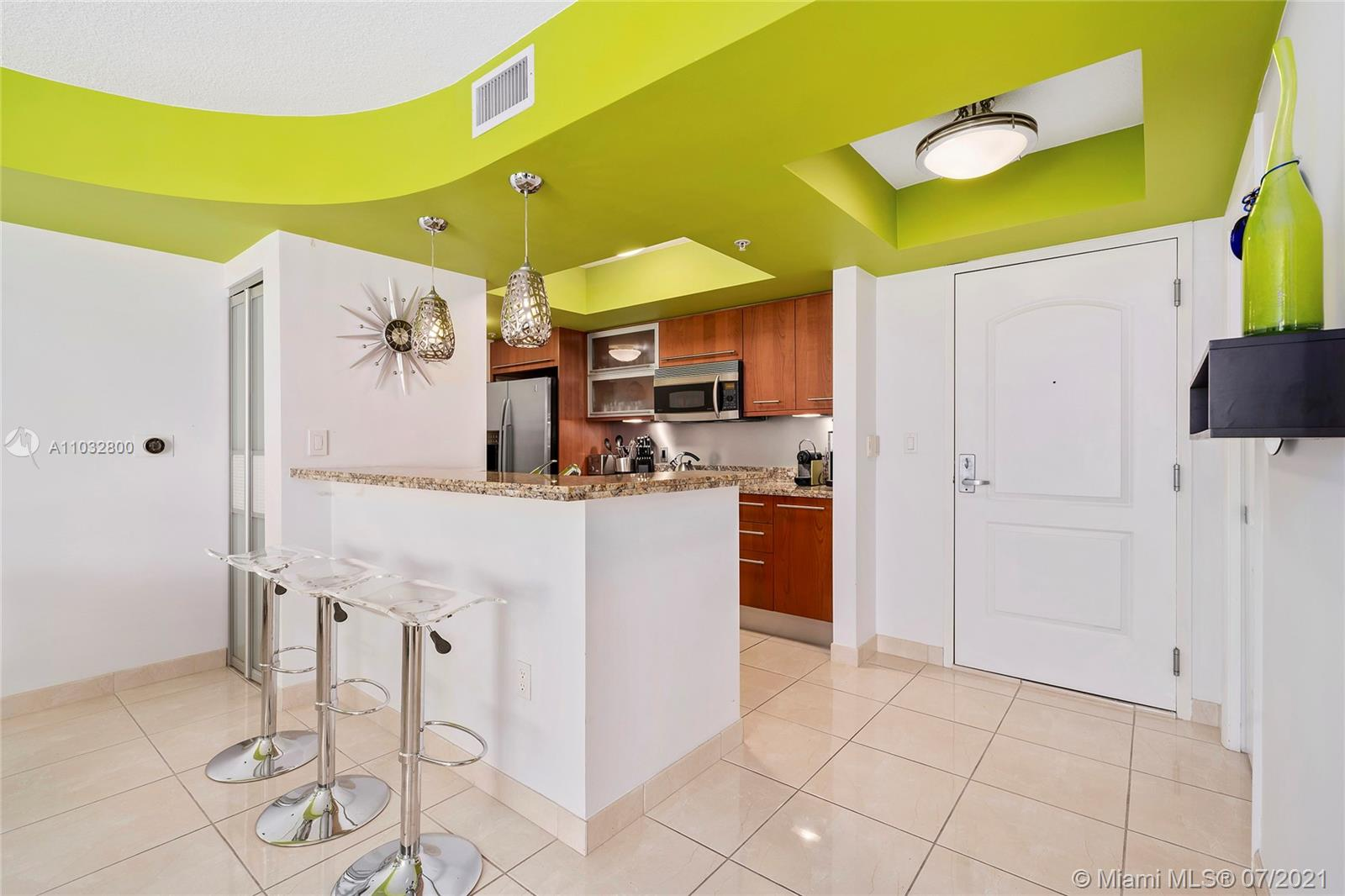 Unit offered furnished.  All furnishings and fixtures are modern with Tropical and beach-themed styling appropriate for South Beach Living.