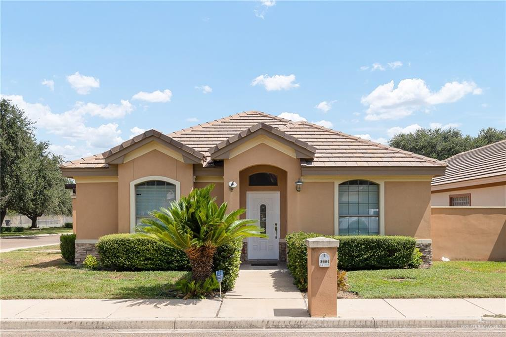 Come and see this beautiful home located in South McAllen. This property features 3 bedrooms 3 bathrooms a kitchen with lots of cabinets and granite countertops.  Enjoy the community pool and the amenities this gated subdivision conveniently located near La Plaza Mall, Airport, McAllen Country Club and Hospitals. Half of the garage has been converted to a room and full bath.  Property presented here is being provided to you on an as-is basis. Keller Williams Realty RGV does not make any representations, warranties or guarantees, express or implied, regarding the accuracy, correctness, or completeness of such information, including without limitation, pricing, descriptions, designs, data and other features. It is your sole responsibility to independently evaluate the accuracy, correctness and completeness of the information presented here. Thank you,
