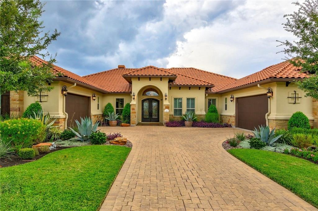 "This custom ranch home built by Partners in Building, backs to the Teravista Golf Course and has it all! No detail has been spared, upgrades include custom stonework throughout, travertine floors, large chandeliers, vaulted & beamed ceilings, a large wine closet, and more. Retreat to the soaking pool with an infinity edge after a long day. Or relax with a movie in your new inviting theater room. With an open floor plan and a large gourmet kitchen, this home is perfect for hosting your friends and family. Enjoy the steam room in the primary bedroom. The backyard boasts an outdoor kitchen and fireplace, views of a large pond from the sprawling patio, and a dog run. This dreamy outdoor space won ""Yard of the Year"" from the Teravista HOA. The home is built on a premier lot, with privacy from all immediate neighbors. Home includes tons of extra storage space, including a large storage closet off of one of the garages. Located 5 minutes away from H-E-B, the University Oaks shopping center, tons of restaurants, and Round Rock Premium Outlets. You won't want to miss this one!"