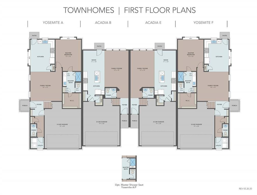 Yosemite F floor plan with features that include light grey cabinets, wood patterned vinyl plank floors, stainless steel whirlpool appliances, granite kitchen counters, double vanity in master bath and bath 2, walk in master shower with seat, walk in master closet. Available February.