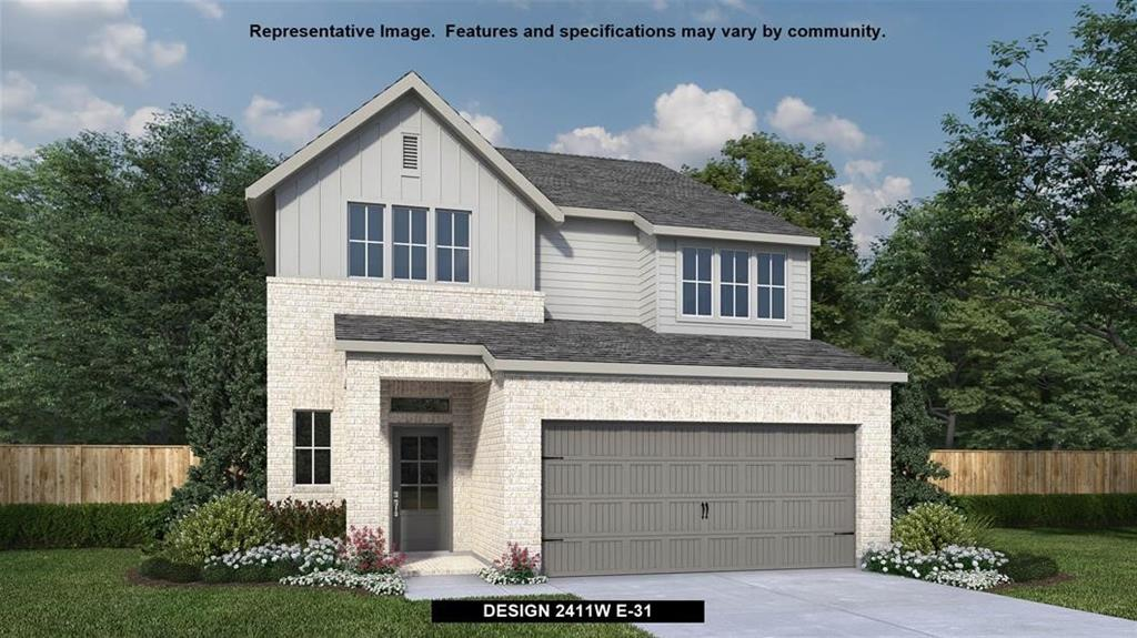 Corner lot homesite. Two-story entry with 19-foot ceiling. Home office. Family room with wall of windows. Kitchen features a corner walk-in closet. Dining area with wall of windows. Private primary suite. Primary bathroom with dual vanities, corner glass-enclosed shower and walk-in closet. Game and secondary bedrooms complete the second floor. Covered backyard patio. Two-car garage.