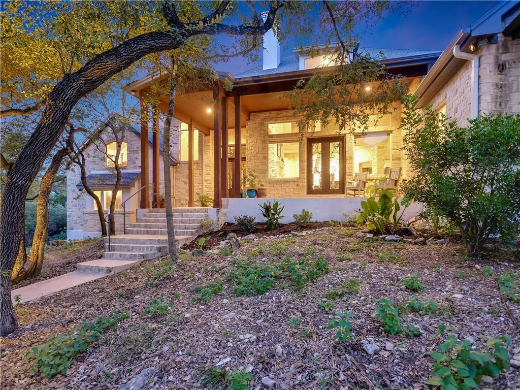 Set far back from the street, this hidden gem is nestled among the trees on a beautiful 4.5 acre lot. The home has an easy flow, floating staircase of iron & reclaimed wood, streaming natural light & opens onto front and back porches to bring the outside in. Built in 1996, the first floor was remodeled in 2013. The primary suite w/ a separate shower, soaking tub, concrete vanity, venetian plaster & tobacco stained wood offers an elegance that blends with the natural setting. Gourmet kitchen has a Wolf 6 burner stove w/ griddle, a large island, Subzero fridge & is open to the family room & large eat-in area. Upstairs are a large flex space, 3 beds & 2 baths. Minutes to UT, downtown and major roads. Roof and systems replaced in the last few years