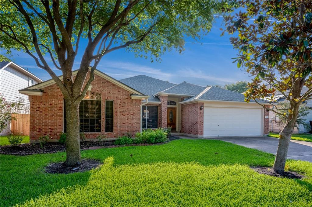 This large 2,168 sq. ft. 3-Bedroom plus a Study, or 4th bedroom is located in the highly sought after Ryan's Crossing neighborhood, just minutes away from the Dell Diamond and new Kalahari Resort.  This house features a spacious and open floor plan, with formal dining room, kitchen with breakfast area, front office, and living room with fire place.   The backyard has an over-sized covered patio with nice yard and storage shed.