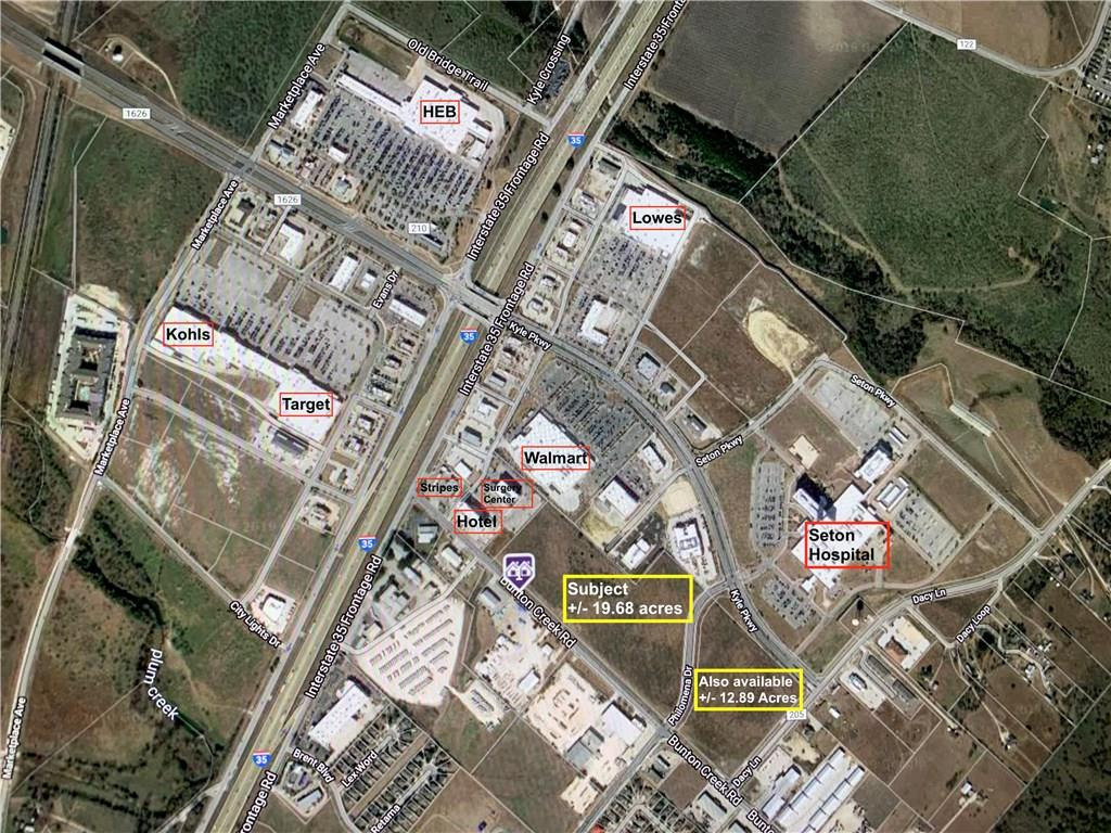 +/- 19.68 acres...IH-35/Seton Hospital area in Kyle, Texas 78640...lots of road frontage on two recently built/improved roads...immediate neighbors include Walmart, Surgery Center, Hotel, Warm Springs Memory Care...nearby neighbors are Seton Hospital, HEB +, Target, Lowes...super access to IH-35, medical and retail...this property is on the NW corner of Bunton Rd and Philomena Dr.
