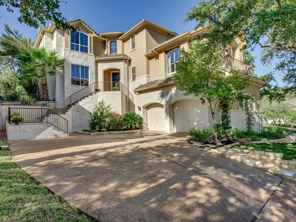 Stunning home with views overlooking the magnificent Hill Country! Located in the cul-de-sac of the private, gated section of The Greens at River Place, this amazing home perched on the hill, backs to 11th tee box of River Place Golf Course. Oversized windows fill the home with abundant natural light. Open floor plan provides family alternatives for gatherings and independence. Texas size Primary Bedroom, spa tub & closet. Secondary bedrooms have walk-in closets. Fourth bedroom (20x24)/multi-purpose could also be Home Office or Game Room. Dine al fresco under your covered patio or outdoor terraces under the oak tree canopies. Top rated River Place Elementary, Four Points Middle and nationally award winning Vandegrift High School. Amazing social community with walking trails, ponds, waterfront parks, sports fields and more. Approximately 15 miles to downtown.