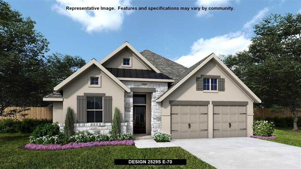 Perry Homes New Construction! New stucco design. Home office with French doors set at entry with 12-foot coffered ceiling. Open kitchen features corner walk-in pantry, generous counter space and island with built-in seating space. Dining area flows into open family room with wall of windows. Primary suite includes bedroom with wall of windows. Dual vanities, corner garden tub, separate glass-enclosed shower and two walk-in closets in primary bath. A guest suite with private bath adds to this four-bedroom design. Extended covered backyard patio. Mud room off two-car garage.