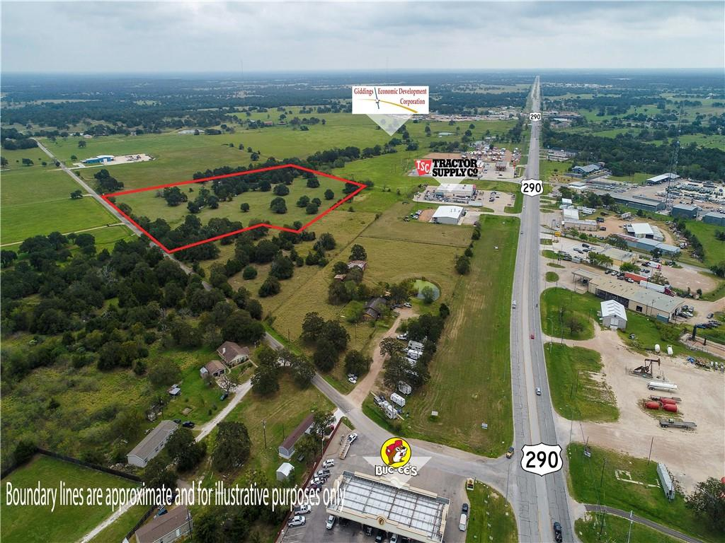20 +/- acres within the opportunity zone in Giddings city limits! Located close to HWY 290 by Buc-ee's, Tractor supply and the economic development property. Ag exempt with scattered trees and a pond. Many possibilities with development or farm opportunities.