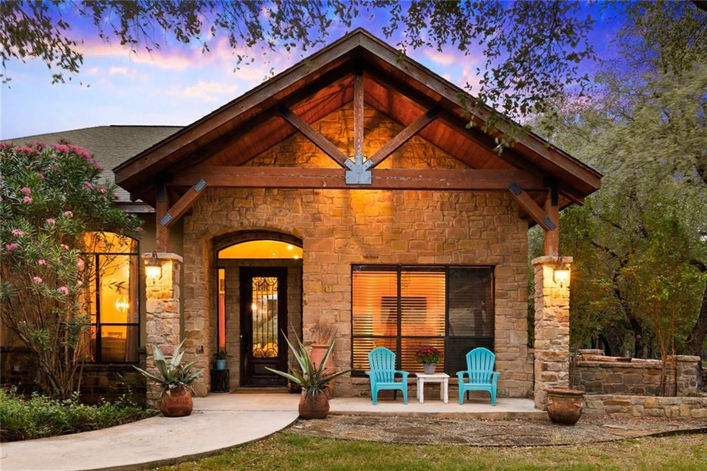 Hill Country Rustic with a Modern Vibe on an oak studded 2.3 acre lot in exclusive Willow Creek Estates!! This custom built, single owner home offers the simple elegance of design combined with the peace & tranquility provided by an oversized lot. Open concept with views looking out into the back yard + a corner flagstone fireplace. Island kitchen w/handmade industrial pendants, granite countertops, custom cabinets, built in oven + cooktop. Owners retreat offers 2 walk-in closets, sep vanities, custom concrete counters, large slate walk-in shower + soaking tub & private WC. Separated Study/Office with private patio under the shady oaks! Secondary bedroom share a bathroom. HUGE flagstone patio anchored by a large fireplace provide plenty of space to entertain + covered patio space with an outdoor TV, perfect to catch the game. The oversized lot offers room to build a second structure so let your imagination run wild! RV parking, pool & cabana, guest home, casita, studio, more!