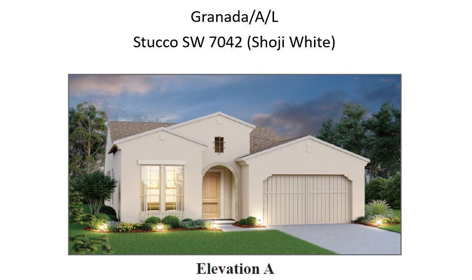 Granada plan. Estimated November completion. Beautiful views and privacy with nice size rear yard. Our popular Granada Plan with gorgeous designer touches throughout.  12' ceilings, 8' doors.  Open floor plan with wood look tile throughout home.  Gourmet kitchen with lots of cabinets and huge center island.  Large great room with floor to ceiling fireplace. Gorgeous Owners suite with vaulted ceiling and cedar wrap beam, Free standing tub and walk in shower.  Covered patio with fireplace and gas stub.