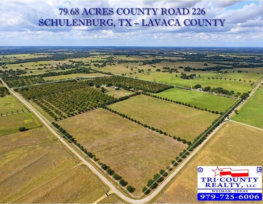 Located in Lavaca County south of Schulenburg within 10min of I-10 Exit 674 on CR 226, this 79.68 acre working cattle & pecan farm has an ideal home site with views of the well-maintained property. This unique property features unmatched diversity highlighted by hundreds of planted live oaks approx. 15 years old, 40+/- acre pecan orchard (varieties include Cheyenne, Desirable, Pawnee & Choctaw), 2+/- acre stocked pond bordered by several cypress trees, cattle trap with small pond, working pen & shelter, three 10+/- acre improved pastures cross-fenced for rotational grazing & hay production, approx. 25'x100' metal building on slab for storing equipment & 4 water wells (3 pumps & 1 windmill) providing irrigation to the trees & ponds. The property has a rectangular shape with paved road frontage on two sides totaling 3,800'+ with gated entrance & gravel road to improvements on south boundary. The property is perimeter fenced with netting wire and/or barbwire & galvanized posts, NOT located in the flood plain, consists of 55% loamy fine sand soil, ag-exempt keeping taxes to a minimum, part of Hallettsville ISD, has elevation ranging from 290'-320' with a potential 2-5 acre pond site in southeast pasture, includes a handful of native, mature live oaks & situated within 2 hours of Houston, Austin or San Antonio. Notable nearby attractions include the Majek Vineyard & Winery, Moravia Store & famous July 4th picnic at St. John, featuring one of Fayette County's famous painted churches. This is a surface sale only with no well or pipeline affecting the property & restriction against subdividing. The pecan tree was designated the official state tree of Texas in 1919 & pecan pie was named the state pie of Texas in 2013. Whether you're looking to build a permanent residence, weekender escaping the fast-paced city life or farmer looking to expand your operation, enjoy your own pecan trees & pies with this one-of-a-kind property that has something for everyone to appreciate.