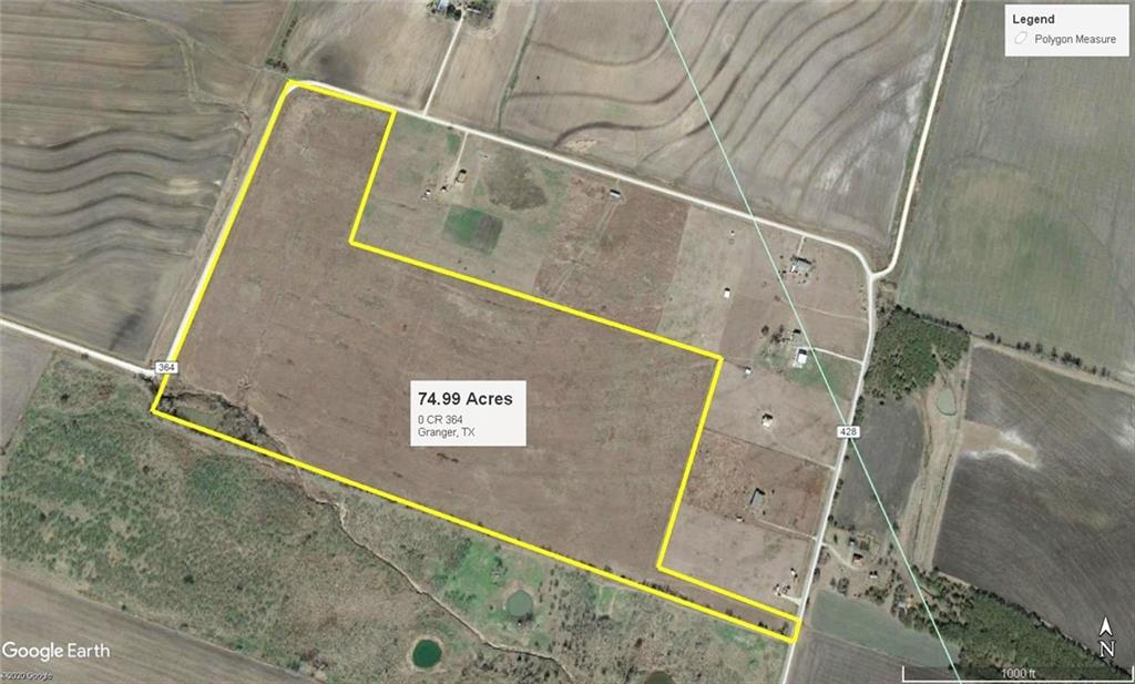 74.99 Acre row crop or grazing land. Approx. 2 miles from Lake Granger and approx. 12 miles from Granger, TX. Will consider dividing. Call for details, layout and pricing. Possible connection to rural water supply available.