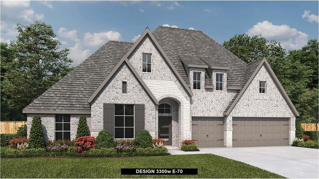 Perry Homes New Construction! Home office with French doors set at entry with 12-foot ceiling. Extended entry leads to open family room, dining area and kitchen with 16-foot ceilings throughout. Family room features a wood matel fireplace and wall of windows. Kitchen features walk-in pantry, a 5-burner gas cooktop, generous counter space and oversized island with built-in seating space. Game room with wall of windows just off dining area. Primary suite includes bedroom with wall of windows. Primary bath features 11-foot ceiling, dual vanities, garden tub, separate glass-enclosed shower and two walk-in closets. A Hollywood bath adds to this spacious four-bedroom home. Extended covered backyard patio with 16-foot ceiling. Mud room off three car-garage.