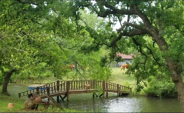 A great property just 8.6 miles north of Flatonia and 10 minutes from I-10.  Conveniently accessible from Houston, Austin and San Antonio, the property is half wooded and open pasture with two 1 acre ponds teaming with bass and bluegill.  Perfect for year round fishing or hunting deer, hogs, dove and turkeys.  Enjoy your own refuge in the country with the charming 3 bedroom, 2 bath country home with pond right in your backyard.  The house has a fireplace, generous country front porch, and deck with hot tub overlooking the pond right outside your bedroom door.  The 1500 square foot shop with large 3-car carport offers endless possibilities for country living. The property has 3040 feet of road frontage along Three Mile Road with county water and power running the length of the property.  With a number of desirable building sites, the acreage can be easily divided into smaller tracts if desired.  Property has an ag exemption and grazing lease.  Seller is willing to convey 25% of mineral rights along with full executive rights for oil and gas leasing.