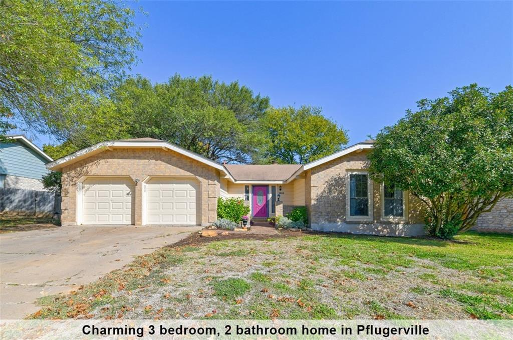 Multiple offers. Offer deadline Monday at 10AM...Beautiful 1 Story home on a large tree covered lot with NO HOA! This 3 bedrooms, 2 bathrooms charmer offers open and airy layout. The main spacious living area features a floor to ceiling white brick fireplace and vaulted ceiling with elegant exposed beams. Kitchen is updated with granite countertops, chic white cabinets with hardware, recently updated appliances. The large dining area offers a wall of windows that provide the home with great natural lighting. The owner's retreat has an en suite bathroom. Ceiling fans in every bedroom and living area. The large back yard with extended deck is designed to be an entertainer's dream! Enjoy walking distance to elementary and proximity to multiple trails, parks & playground. This home is minutes from the new Amazon Distribution Center, Typhoon Texas, shopping, restaurants and two movie megaplexes.