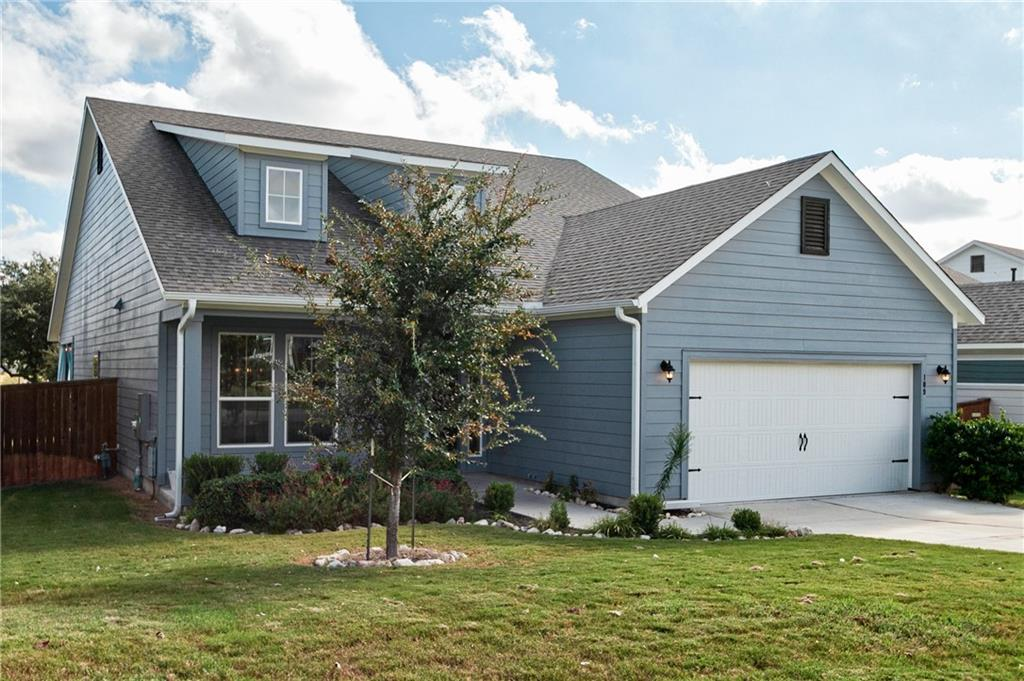 Modern Farmhouse Home in beautiful Orchard Ridge community.  Boasting 3 bedrooms, 2 baths and office/formal dining.  Boasting designer touches throughout, shaker cabinets, smooth wall texture, granite countertops, SS appliances, custom lighting fixtures and much more.  Beautiful master bath with dual vanities, soaking tub and extra large shower.  This is a light and bright entertainers dream, checkout the disappearing sliding door that opens up to the covered patio.  Bring the outside in.  Tons of storage.  Beautiful views from the back onto the greenbelt and orchard view.  Waking distance to the clubhouse/pool area.  Leander Schools.  Easy access to parks, shopping, highways, Liberty Hill, Georgetown, Leander, Cedar Park.  Welcome Home