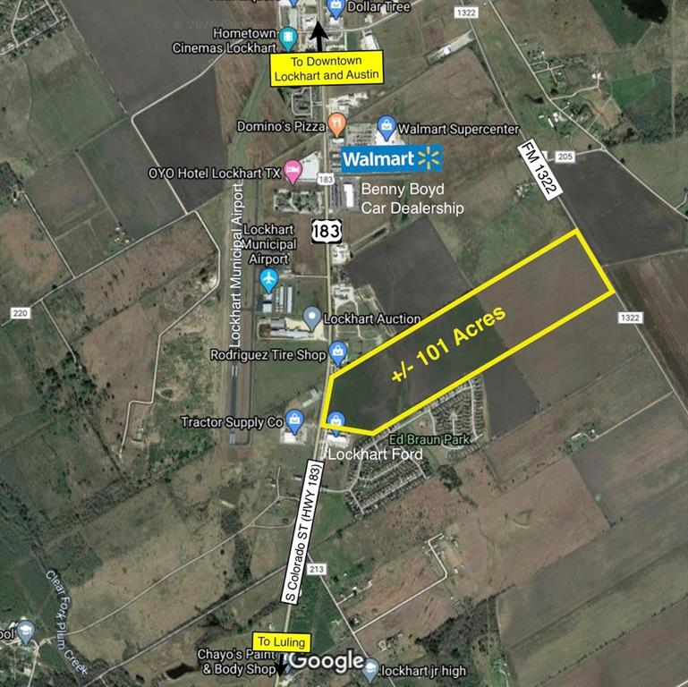 Approx. 101.74 acres with approx. 695 feet of frontage on US Hwy 183.  Zoned AO. The recently approved Comprehensive Land Map for Lockhart, Texas proposes the highway frontage as General Heavy Commercial and the non-highway frontage as Residential Medium Density.  All utilities available and through the City of Lockhart.