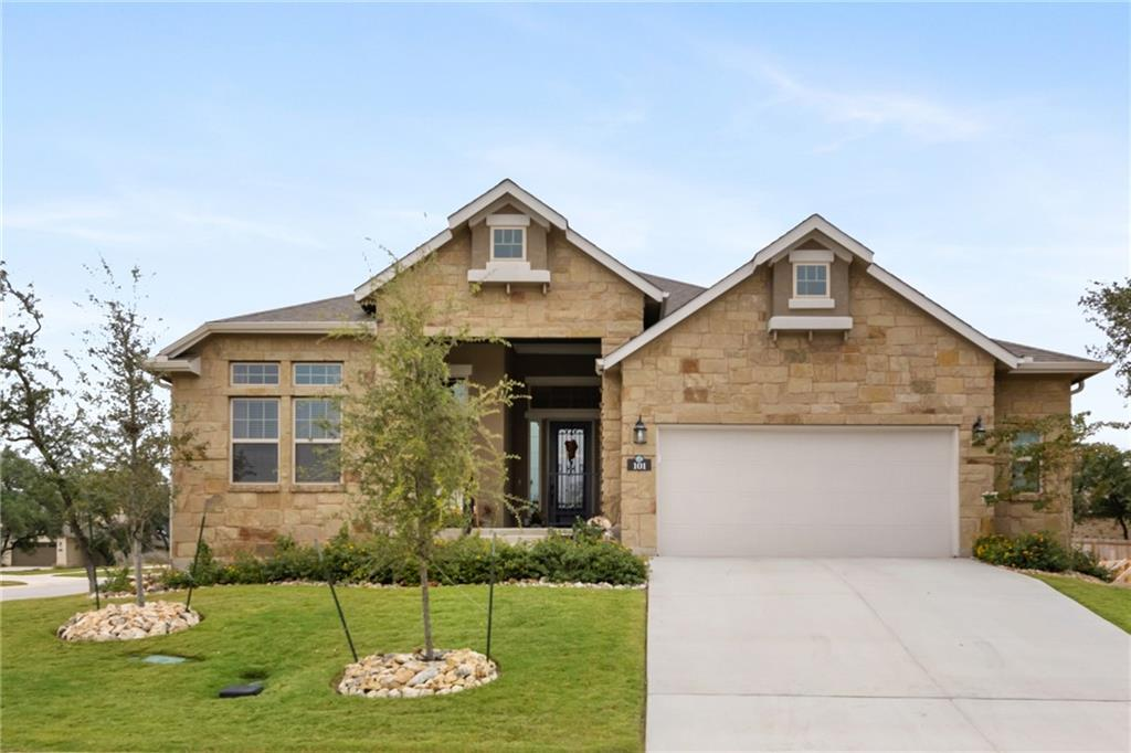 Gorgeous single-story home on a corner lot with so many designer touches and upgrades throughout including the stainless refrigerator, washer, dryer and custom drapes. You'll love this bright and airy 3 bedroom, 2.5 bath home with dedicated study/flex room. Open concept kitchen boast a Texas sized Quartz island adjoined to family room with cozy stone fireplace, high ceilings and wood-like tile flooring. Main en-suite features spa bath, separate shower, dual vanities & large closet. Spacious bedrooms and Texas sized covered back porch make this the perfect home for entertaining guest. Do not forget the extra-large garage with epoxy flooring. Water Oak is a peaceful community on the banks of the San Gabriel River with natural amenities including rolling hills with views, meandering trails, and majestic trees. Coming soon to Water Oak is a large amenity complex that will feature a pool, covered patio, restrooms, and dog park. This community is nestled close to Wolf Ranch for shopping, dining, entertainment, Georgetown's historic downtown district, Round Rock Premium Outlets, medical care options and all other necessities you could want. New toll roads 183A, 45 and 130 have made traveling anywhere easy and efficient. Georgetown blends both the charm of a small town with the amenities of a big city, come see what you have been missing.