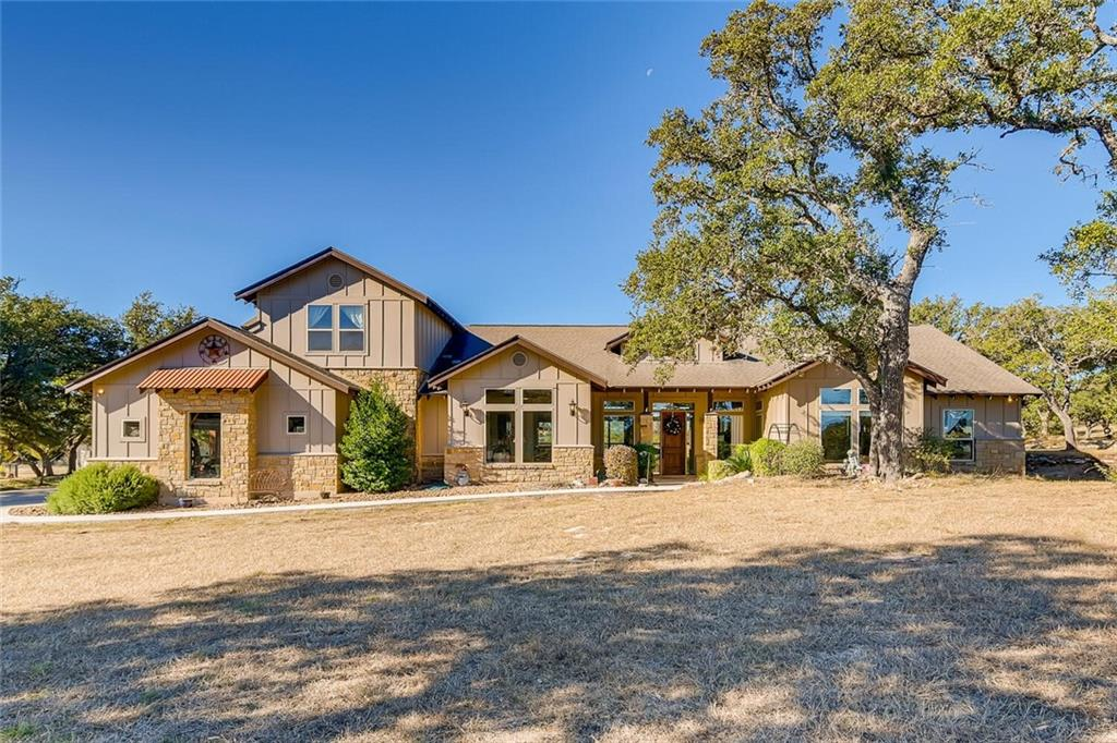 What a beautiful Hill Country setting for this 4 bedroom home on acreage with pool, covered patio, professional landscaping in a gated upscale custom home community. Fantastic floor plan with study, breakfast area, formal dining, open kitchen to living, spacious master with wrap around closet and bonus room up with full bath. High-end finishes including stained concrete floors, granite counters, custom cabinets,  upgraded appliances and more.