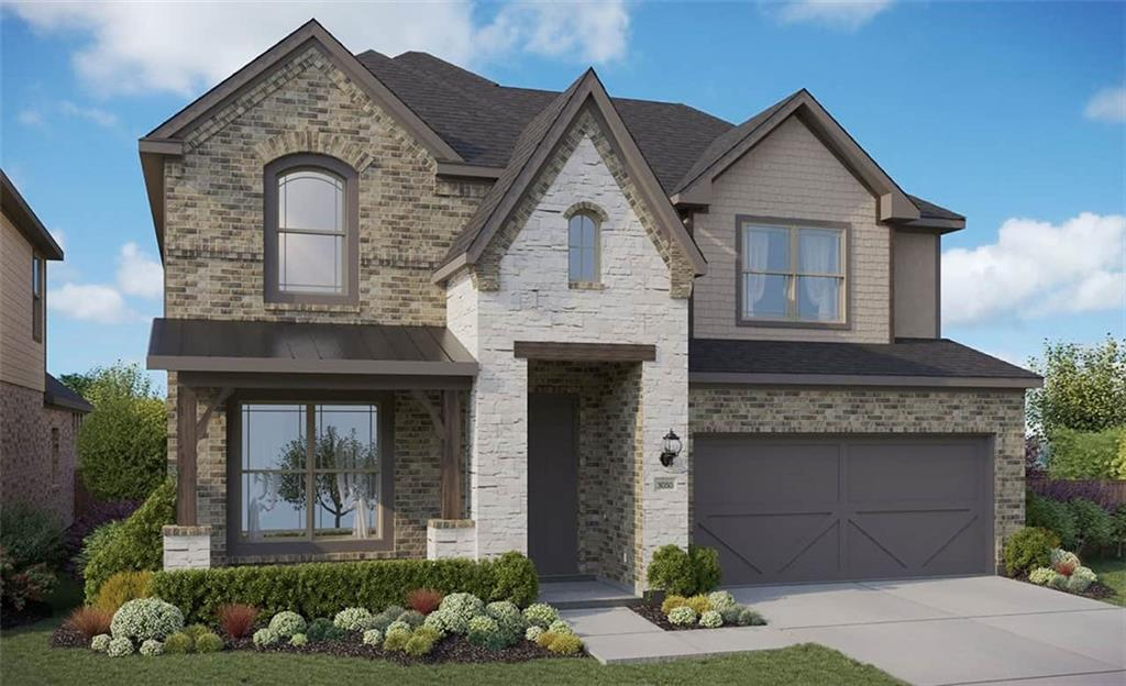 Rosewood floorplan with features that include full height two-story family room, game room upstairs, master bedroom bay window, and study downstairs. Available March.
